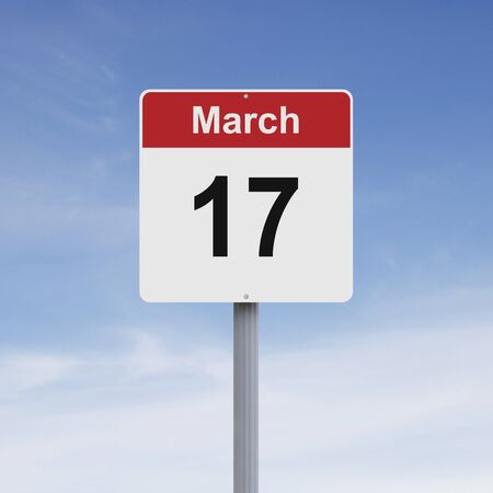 march 17: Modified road sign indicating March 17 Stock Photo