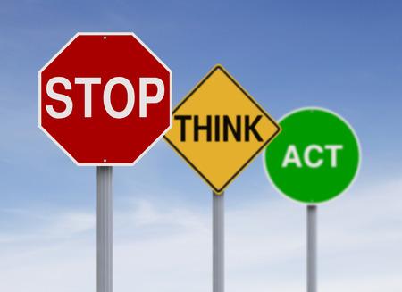 señales de seguridad: Señales de tráfico modificados con un concepto de seguridad