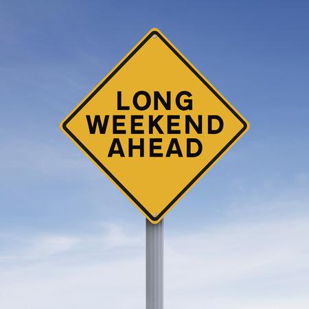 fin de semana: Señal de tráfico conceptual que indica fin de semana largo por delante