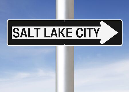 one way sign: A modified one way sign indicating Salt Lake City