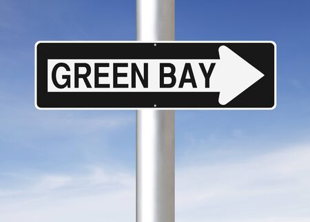 one way sign: A modified one way sign indicating Green Bay