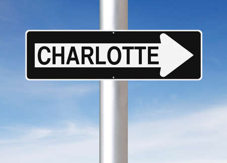 one way sign: A modified one way sign indicating Charlotte