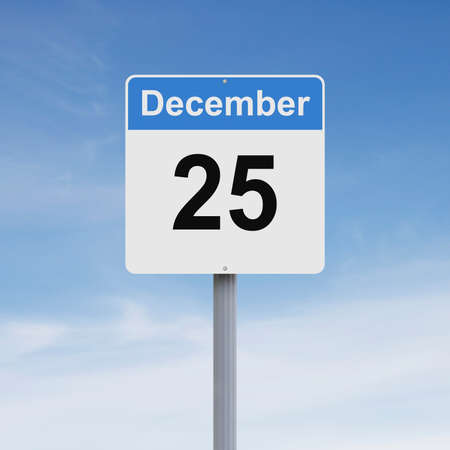 december: Modified road sign indicating December 25