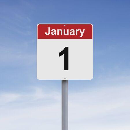 january: Modified road sign indicating January 1 Stock Photo