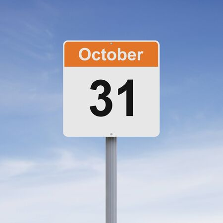 october 31: Modified road sign indicating October 31