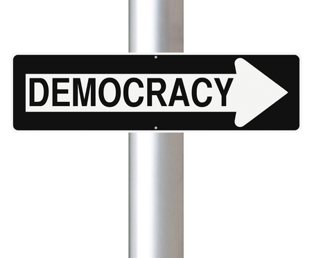 democratic: Conceptual one way road sign indicating Democracy Stock Photo
