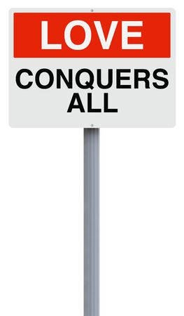 conquers: A conceptual sign on Love Stock Photo