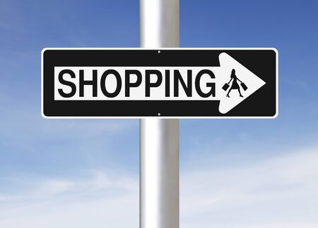 one way sign: A modified one way sign indicating Shopping. Silhouette terms and conditions allow for commercial usage.