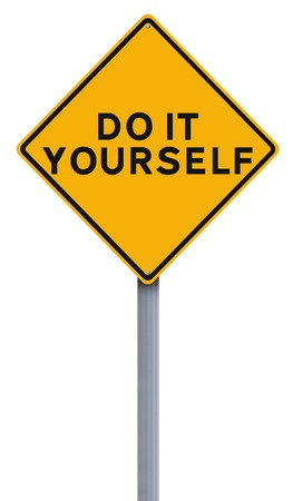 do it yourself: A modified road sign indication Do It Yourself Stock Photo