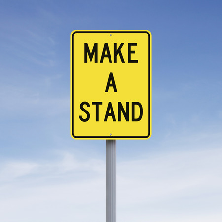 make belief: A modified road sign indicating Make A Stand Stock Photo