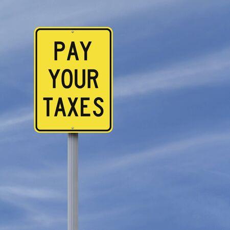 impuestos: Señal de tráfico que indica Modificado pagar sus impuestos Foto de archivo