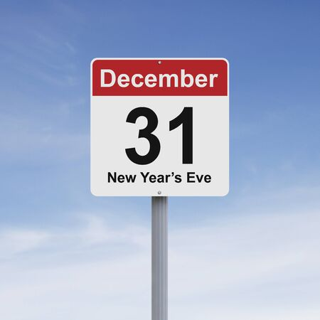december 31: Modified road sign indicating December 31 Stock Photo