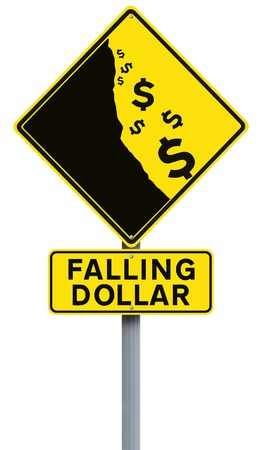 financial cliff: A modified road sign on the weakening of the dollar Stock Photo