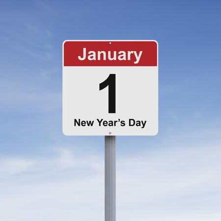 1: Modified road sign indicating January 1 Stock Photo