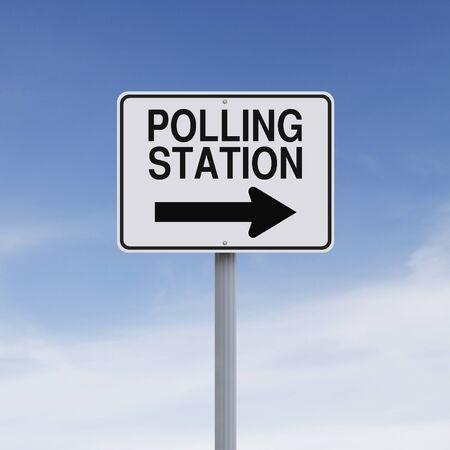 encuestando: Un centro de votación indicando modificado una muestra de la manera Foto de archivo