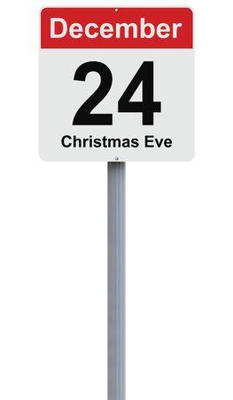 december: Conceptual road sign indicating December 24