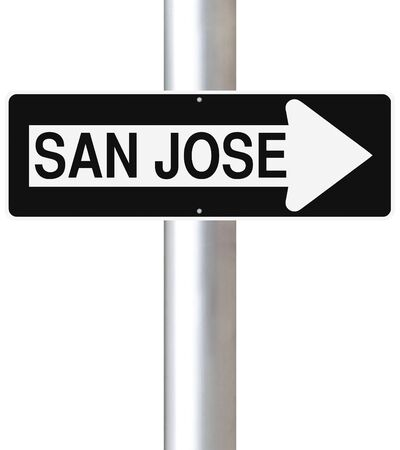 one way sign: A modified one way sign indicating San Jose Stock Photo