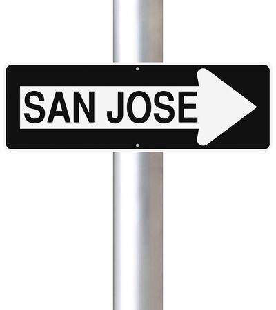 san jose: A modified one way sign indicating San Jose Stock Photo