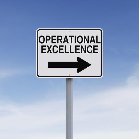 Gemodificeerde een manier bord met vermelding van Operational Excellence Stockfoto - 44693539