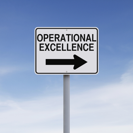 one way sign: Modified one way sign indicating Operational Excellence