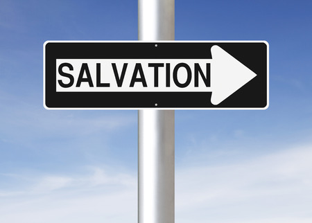 the salvation: Modified one way sign indicating Salvation Stock Photo