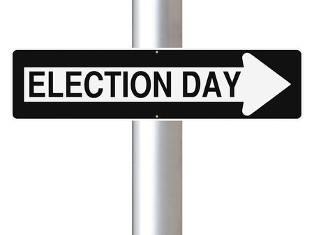 election choices: Modified one way sign indicating Election Day