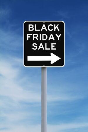 one way sign: Modified one way sign indicating Black Friday Sale Stock Photo