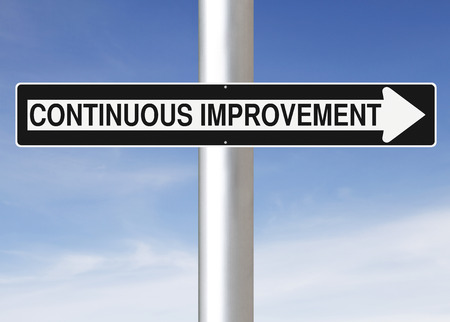 continuous: Modified one way sign indicating Continuous Improvement