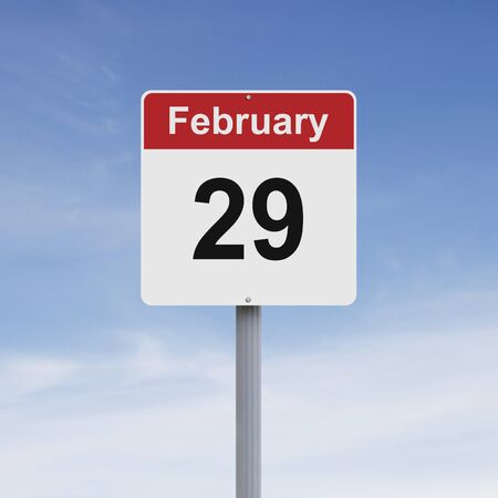 Modified road sign indicating February 29