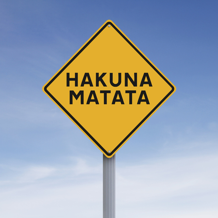 worrying: A conceptual road sign indicating a Swahili phrase about not worrying
