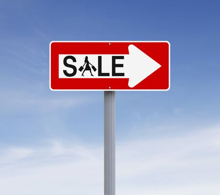 one way sign: A modified one way sign indicating Sale. Silhouette terms and conditions allow for commercial usage. Stock Photo