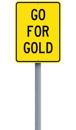 gold road: A modified road sign indicating Go for Gold Stock Photo