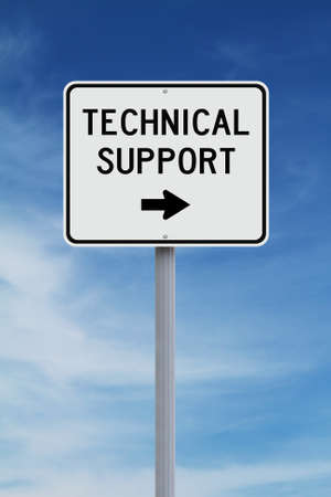 service desk: A modified sign indicating Technical Support