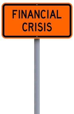 financiele crisis: A modified road sign indicating Financial Crisis Stockfoto
