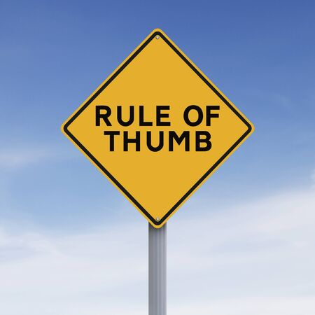 rules: Modified road sign indicating Rule of Thumb Stock Photo