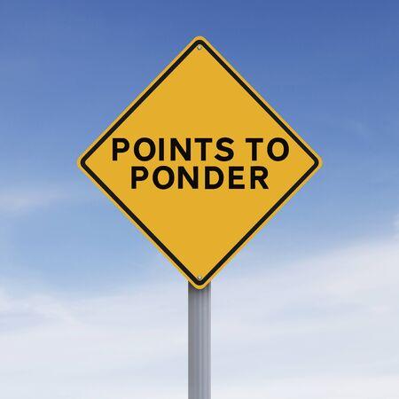 Gewijzigde verkeersbord aangeeft punten na te denken Stockfoto - 46175893