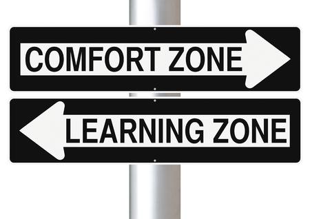 コンフォート ゾーン、学習ゾーンを示す変更された 1 つの方法標識 写真素材