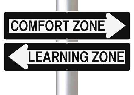 directional arrow: Modified one way signs indicating  Comfort Zone and Learning Zone
