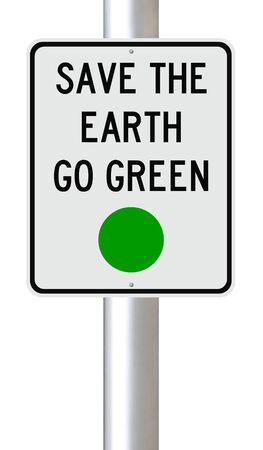 conservation: A modified road sign on environmental conservation Stock Photo
