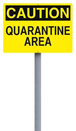 quarantine: A caution sign indicating Quarantine Area