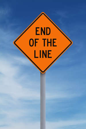 end of the line: Conceptual road sign indicating End of the Line Stock Photo