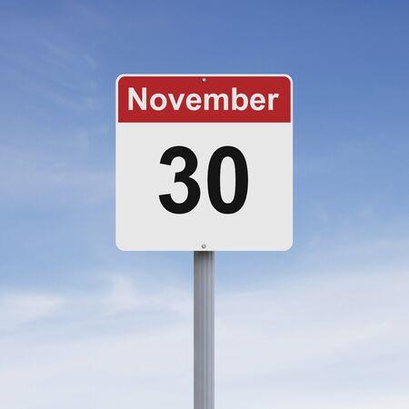 november: Modified road sign indicating November 30