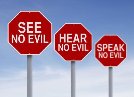 escuchar: Señales de tráfico conceptual sobre un dicho popular