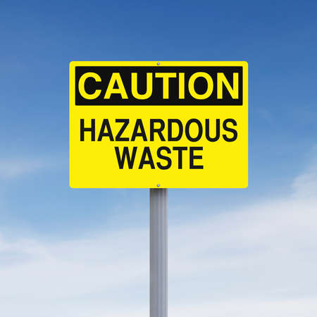 hazardous waste: A caution sign indicating Hazardous Waste