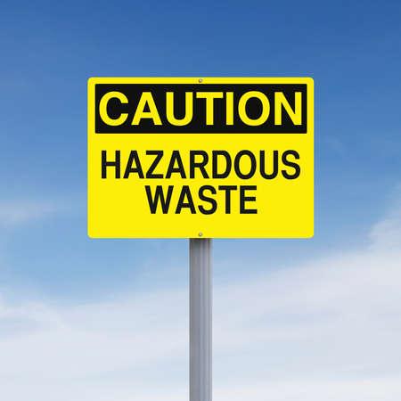 hazardous waste: A caution sign indicating Hazardous Waste