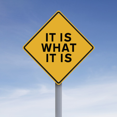it: A road sign indicating It Is What It Is Stock Photo