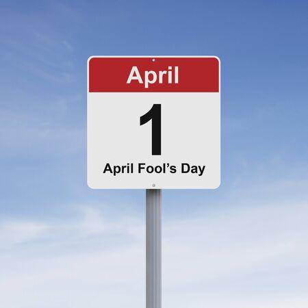 tonto: Señal de tráfico que indica Modificado 01 de abril Foto de archivo