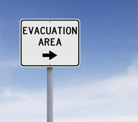 evacuacion: Un área de evacuación señal de tráfico que indica