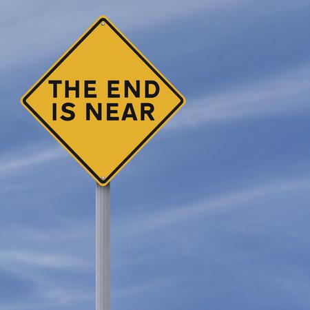 Koncepcyjne znak drogowy wskazujący koniec jest bliski Zdjęcie Seryjne