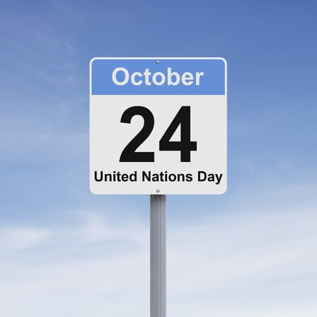 naciones unidas: señal de tráfico modificado en el Día de las Naciones Unidas Foto de archivo